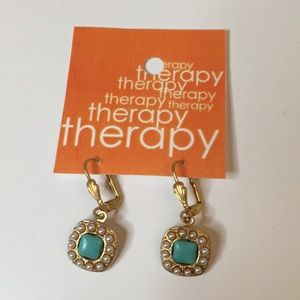Therapy teal and gold earrings
